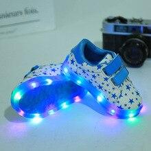 2017 niños del nuevo emisor de luz casual sports shoes boys and girls luces led antideslizante zapatillas de deporte de tamaño 21-25