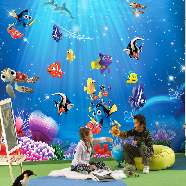 Kids Room Mural: Wholesale 3d Mural Wallpaper With Nimo Fishes Ocean