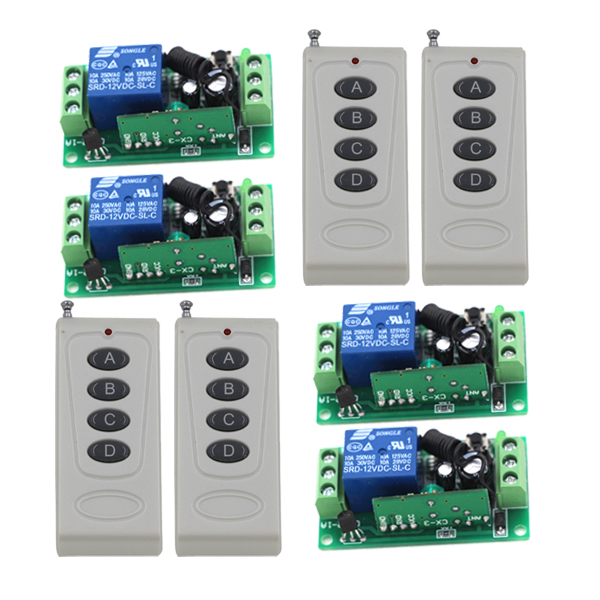 Hot Selling DC 12V 1CH Wireless Remote Control Radio Switch 315mhz 4 Transmitter + 4 Receiver 105m High Sensitivity 4230