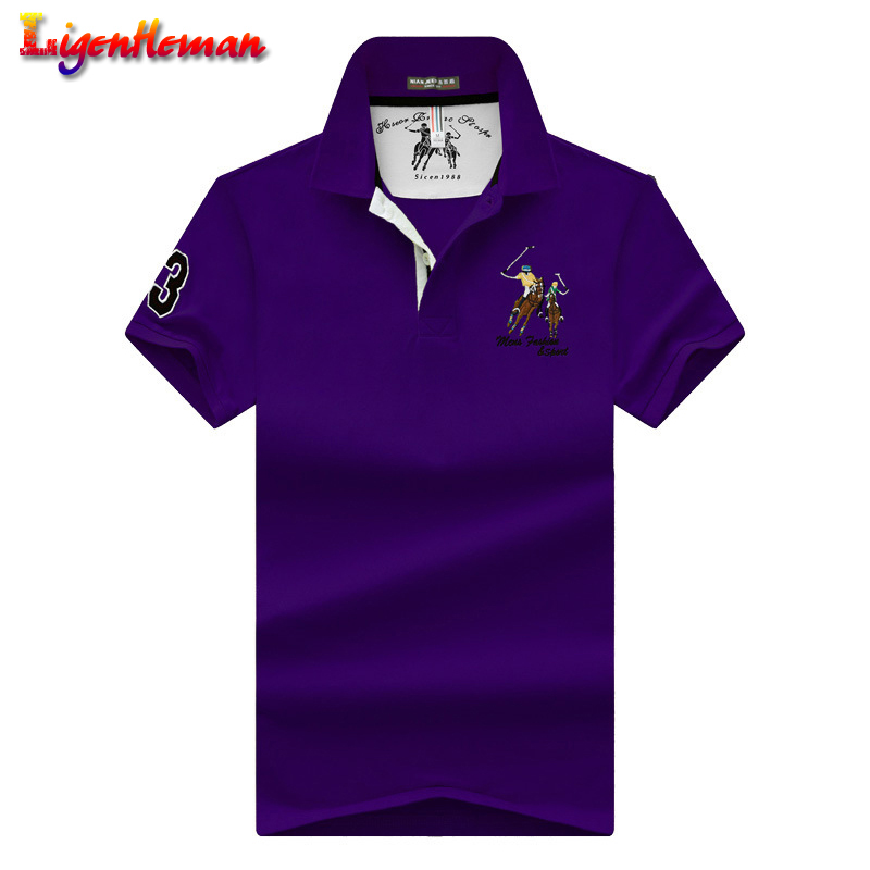 High Quality Tops Men Pure color embroidery lapel soft   Polo   shirts Business plus size   polo   Shirts men short sleeves   polo   shirt