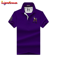 Hohe Qualität Tops Männer Reine farbe stickerei revers weiche Polo shirts Business plus größe polo Shirts männer kurzen ärmeln polo hemd