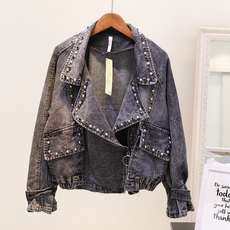 Denim Jacket Women Spring Autumn Basic Coat Short Jeans Jacket Women Outerwear Rivet Long Sleeve Loose