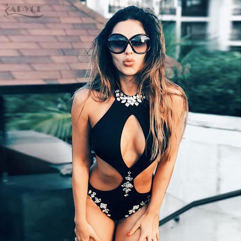 Bandage Bodysuits Celebrity Black Diamond Beading Sexy Backless Halter Hollow Out Swimsuits Bodycon Bikini