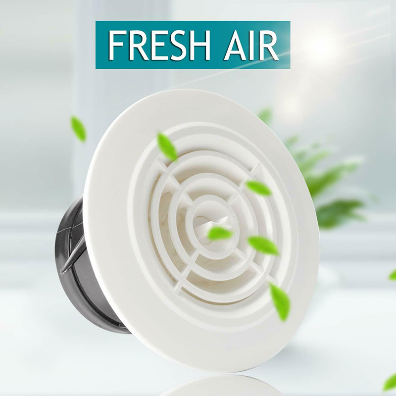 Round Air Vent ABS Louver Grille Cover Adjustable Exhaust Vent For Bathroom Office Ventilation CLH@8