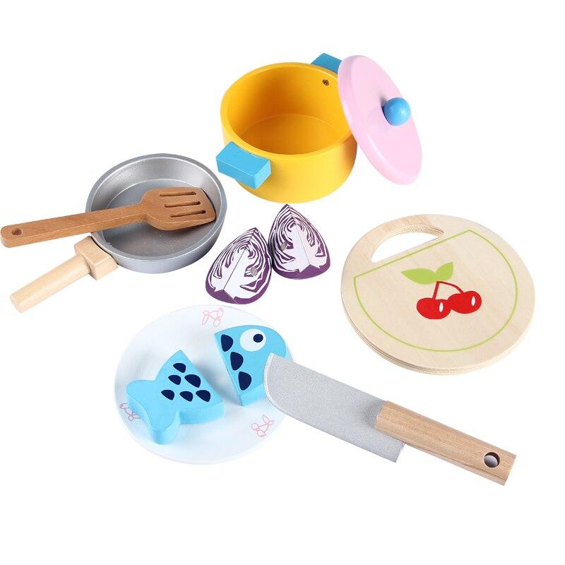 Baby Simulation Töpfe Kombination Gemüse/fisch Hot Pot Holzspielzeug Spielen Küche Geschnitten Lebensmittel Prentend Spielen Lebensmittel Anzug Geburtstag Geschenk