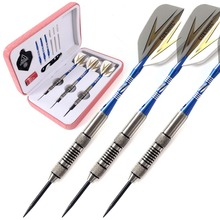 CUESOUL 26 Grams Tungsten Darts,Precise Dart Barrels,Pink Dart Case,Black Dart Flight With Blue Dart Sharpener,Dart Stool