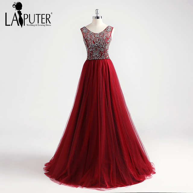 bd3479f6e8 US $159.0 |Aliexpress.com : Buy Laiputer 2018 Luxury Formal Burgundy Wine  Red Elegant Amazing Cheap Luxury Crystal Evening Prom Dresses Women Party  ...