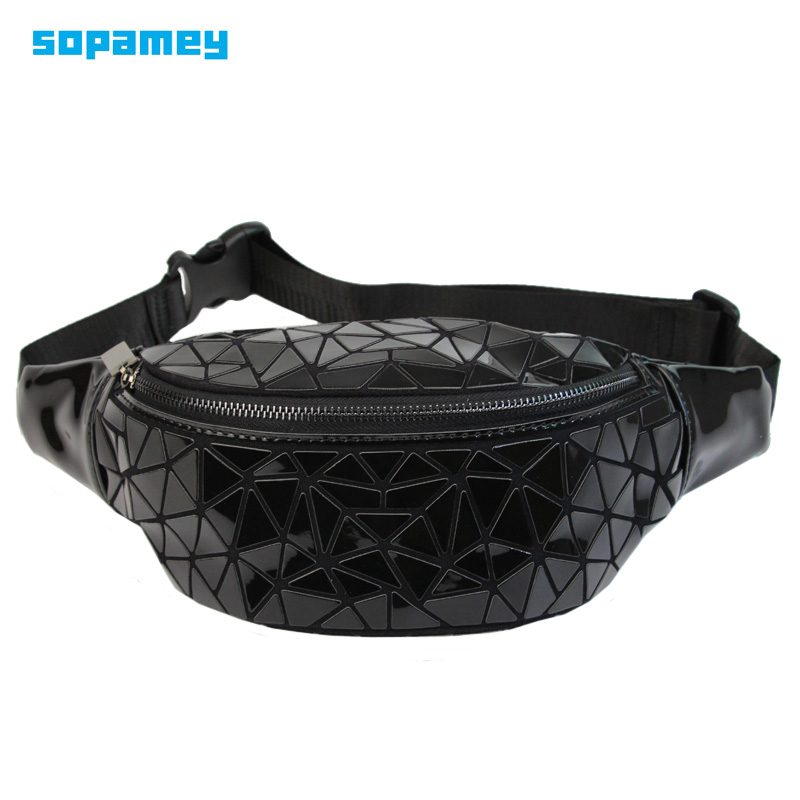 Fashion Waist Bags Women Waist Fanny Packs Black Belt Bag Luxury Brand PU Leather Chest Handbag Geometry Waist Packs Mochila