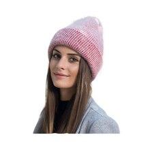 купить SUOGRY 2018 New simple Rabbit fur Beanie Hat for Women Winter hat for children Skullies Warm Gravity Falls Cap Gorros Female Cap по цене 441.59 рублей