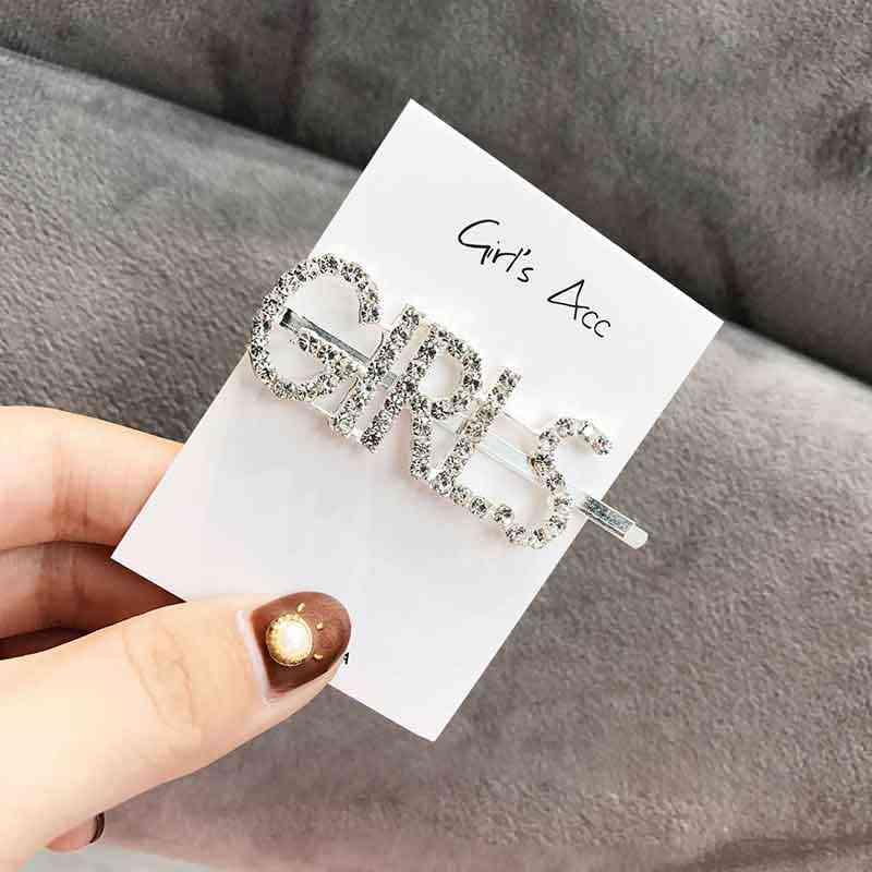 68b60e1184 DANZE 1PC Fashion Luxury Bling Letters Design Rhinestones Hairpins Headwear  for Women Girls Hair Clips Pins Hair Accessories