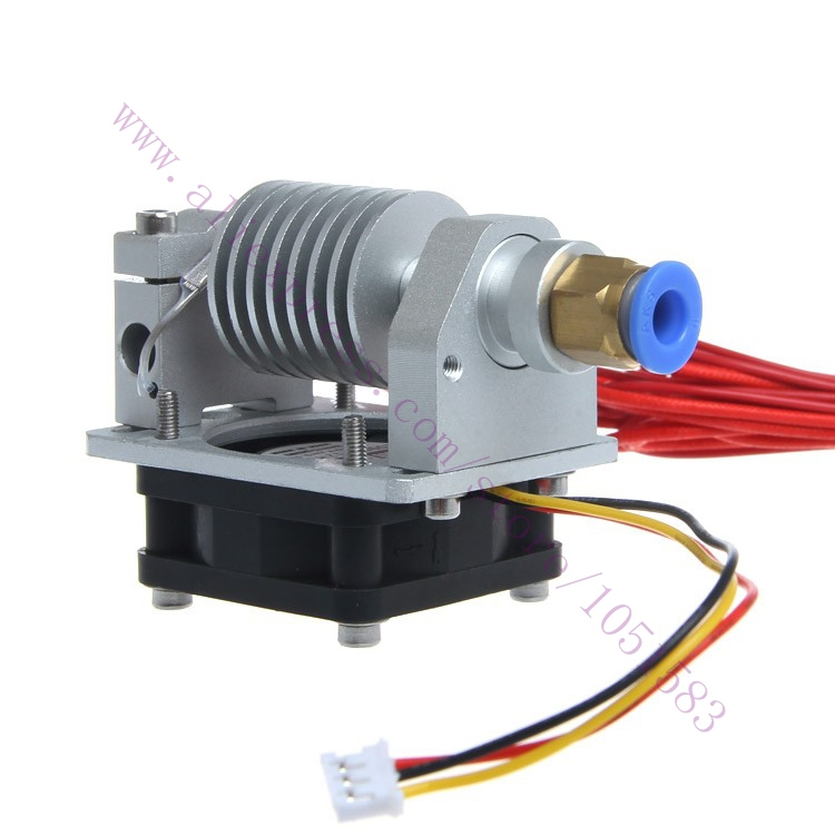 3D Printer parts All Metal Long-distance V5 j-head V2.0 Extruder with cable&cooling fan,1.75/3mm Inlet, 0.3/0.4/0.5mm Optional soaringe 3d printer assembled all metal long distance j head for bowden extruder 0 4mm x 3mm