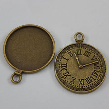 10pcs/pack Antique Bronze Alloy Clock Back Necklace Pendant Cameo Cabochon Setting Charm Bracelet Jewelry Making 34*27*2mm 50261(China)