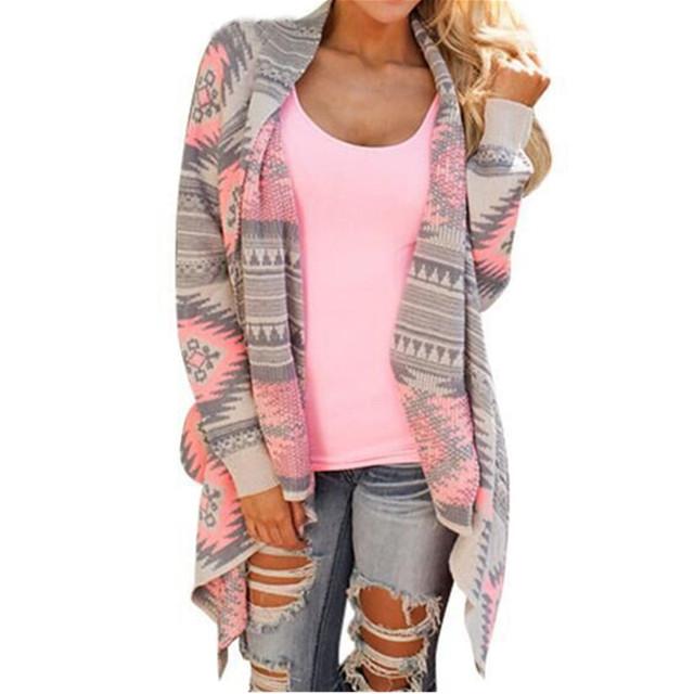 2016 Outono Mulheres Moda Poncho Camisola Geométrica Imprimir Manga Comprida Malha Casaul Solto Irregular Cardiagn Feminino Outwear