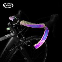 도로 자전거 Noctilucent 핸들 바 테이프 빛 반사 현혹 자전거 바 테이프 MTB PU 가죽 다채로운 자전거 포크 그립 테이프