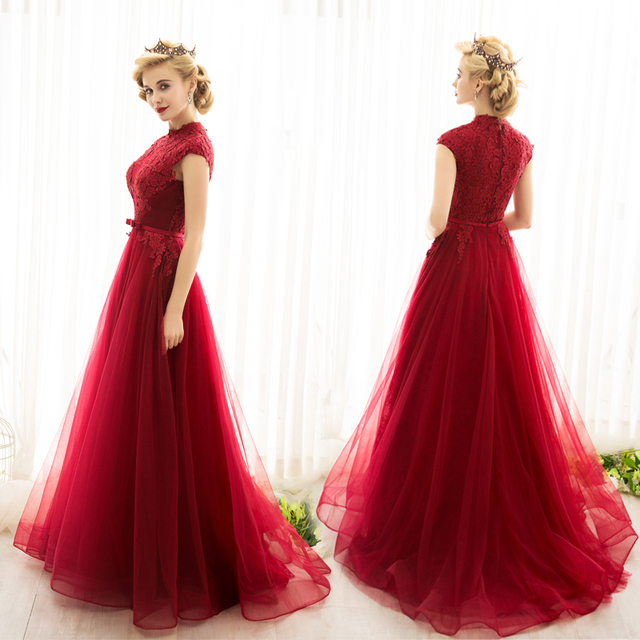 Fashion High Neck Evening Dresses Sleeveless Applique Beaded Lace ...