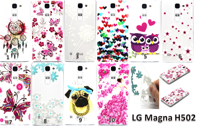 New 2015 Fashion Colorful Flower Vintage Owl dog butterfly Soft Silicone TPU Cover Case for For LG Magna C90 H520N H502F H500F