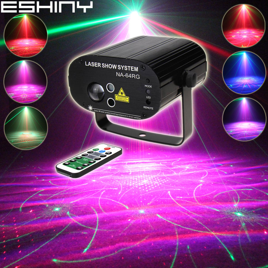 ESHINY R G Laser 64 Patterns Aurora Water Galaxy Sky Effect RGB LED DJ Family Party