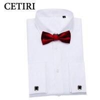 White French Cuff Shirt Long Sleeve Winter Men Tuxedo Dress Shirt Slim Fit Formal Business Dress
