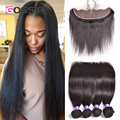 7A Malaysian Straight Hair With Closure 13x4 Ear To Ear Lace Frontal Closure With Bundles Malaysian Virgin Hair With Closure