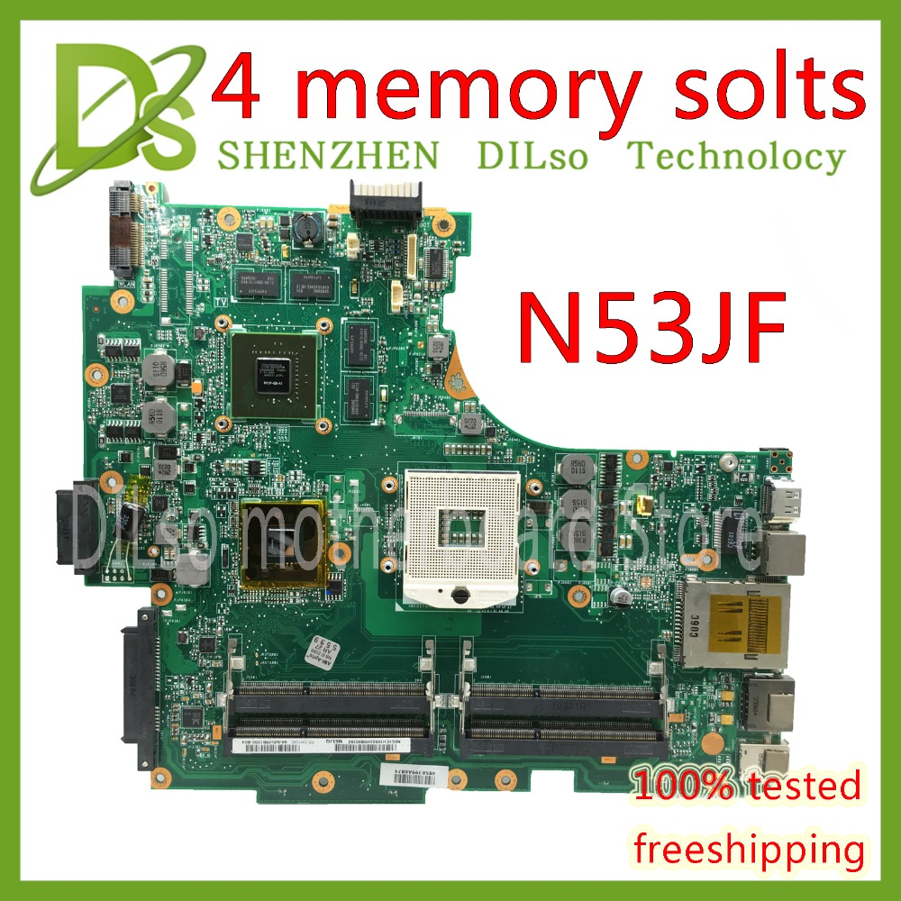 все цены на KEFU N53JF For ASUS N53J N53JF N53JG N53JQ mainboard 4 slots RAM HM55 With GT425M 1G laptop motherboard Test work 100% онлайн