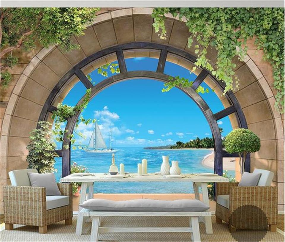 3d photo wallpaper mural living room European balcony sea view 3d painting sofa TV background wall custom size non-woven sticker custom photo wallpaper european town street view entrance background modern painting mural wall papers home decor living room