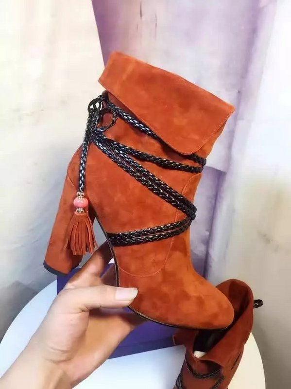 2017 New Arrival Spring Autumn Flock Dress Shoes Women Round Toe High Heel Booties Fringe Embellished Lace Up Ankle Boots genuine leather shoes fashion2017 new autumn women wedges shoes high heel platforms for women casual shoes pumps elevator women