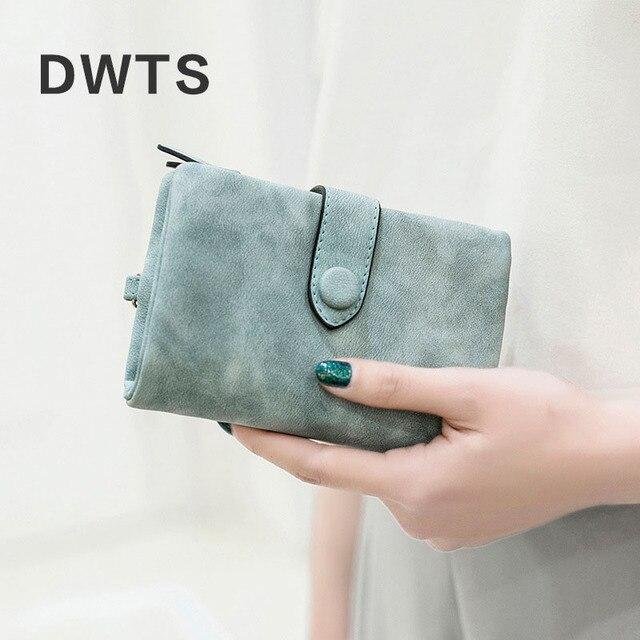 Wallet Female Leather Wallet Matte Wallet Short Cartera Mujer Cute Tri-fold Multi-card Female Wallet