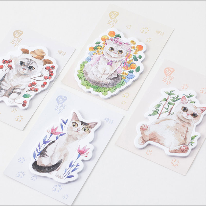 1X Flowers cat weekly plan Sticky Notes Post Memo Pad kawaii Korean stationery School Supplies Planner Stickers Paper