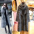 Adogirl Winter Knitted Sweater With Scarf Shawl Women Turn Down Collar Loose Long Cardigan Gray Casual Open Stitch Sweaters Coat