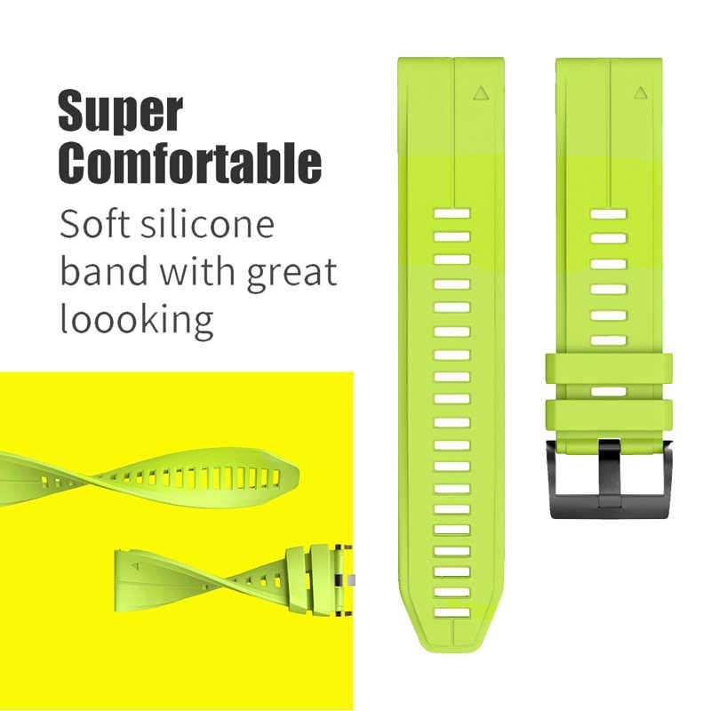 26, 22, 20 мм, ремешок для смарт-часов наручных gps-часов Garmin Fenix 5X, 5, 5S 5X плюс 3 3HR S60 MK1 Смарт-часы, быстросъемный силиконовый легко регулируемый ремешок на запястье