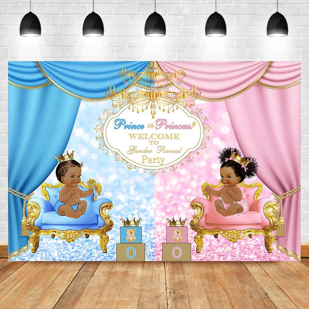 Royal Celebration Gender Reveal Backgdrop Welcome Prince or Princess Baby Shower Party Photo Backdrop Blue Pink Background