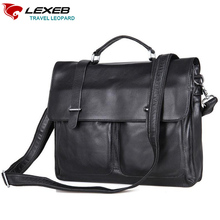 LEXEB Brand Black Men's Briefcases Solid Genuine Leather Messenger Post Satchels Bags 15 Inch Laptop High Quality Office Bag