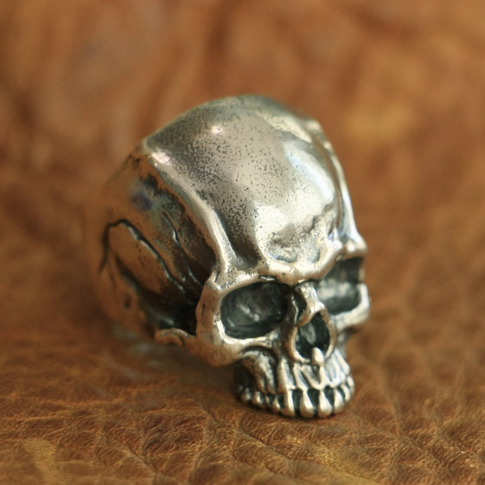LINSION 925 Sterling Silver Details Skull Ring Mens Biker Punk Ring TA102 US Size 7~15