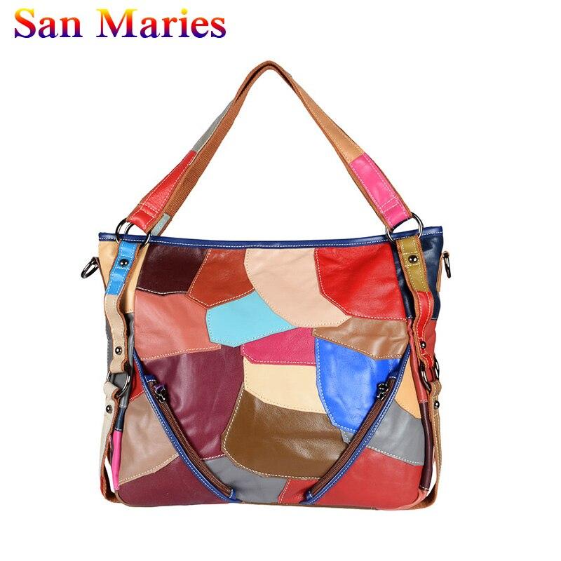San Maries Véritable grand sac En Cuir Femmes sacs à main en cuir Femelle Patchwork Sacs À Main Sacs Pour Femmes 2019 Épaule Bandoulière Sac