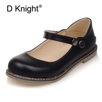 Women Sweet Mary Janes Flats Slip On Loafers Student Round Toe Oxfrods For Women Plus SIze