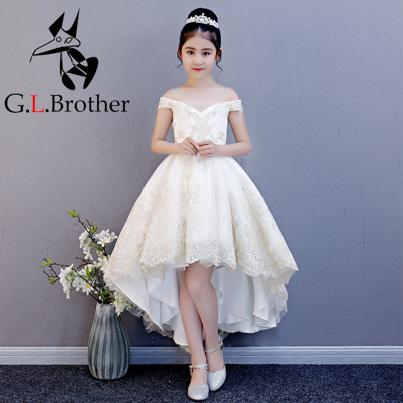 Luxury Off The Shoulder Flower Girl Dresses Wedding Short Front Long Back Girls Formal Dress Lace Up Embroidery Princess Dress blue off the shoulder lace up front denim crop top
