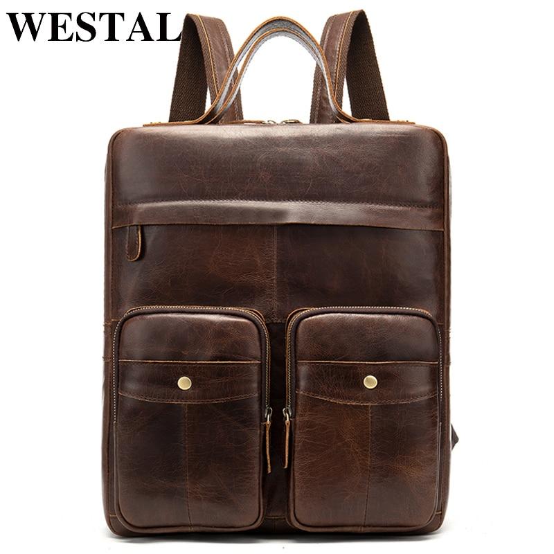 WESTAL 100% en cuir véritable hommes sacs à dos multifonction sac à dos pour ordinateur portable en cuir cartable sacs à dos mâle sac d'école pour adolescent