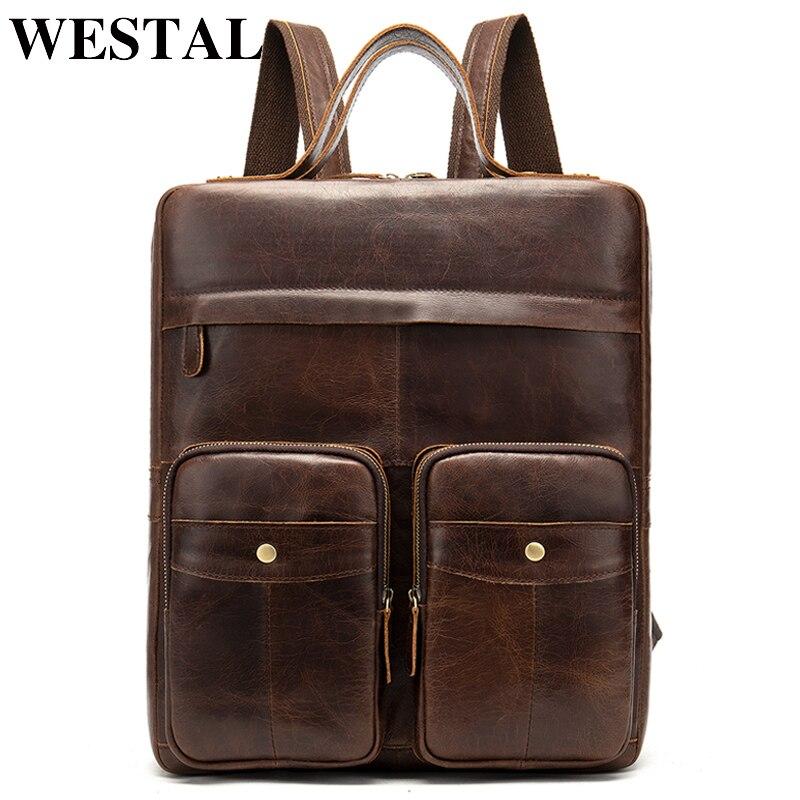 WESTAL 100% ของแท้หนังผู้ชายกระเป๋าเป้สะพายหลังกระเป๋าเป้สะพายหลังแล็ปท็อปมัลติฟังก์ชั่หนังกระเป๋าเป้สะพายหลังชายโรงเรียนกระเป๋าสำหรับวัยรุ่น-ใน กระเป๋าเป้ จาก สัมภาระและกระเป๋า บน   1