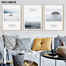 NUOMEGE Nordic Seascape Canvas Posters Painting Stone Sea Wave Sailboat Scandinavian Art  Pictures For Living Room Home Decor