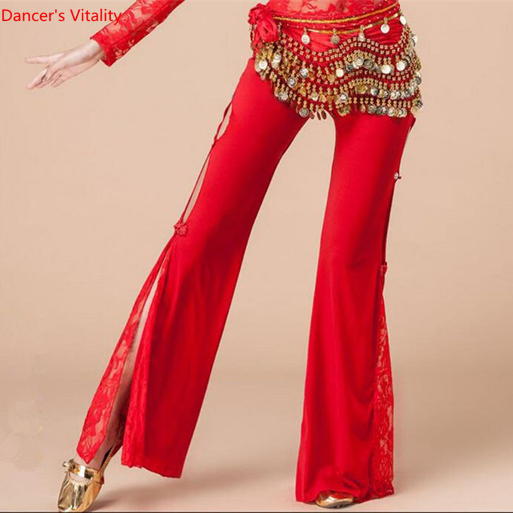 Women India Dance Accessory High Slit Lace Belly Dance Pants Performance Wear Yellow Red Black Purple Pink Blue Free Shipping