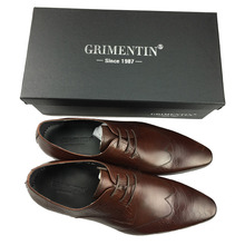 GRIMENTIN genuine leather black brown fashion formal business male shoes
