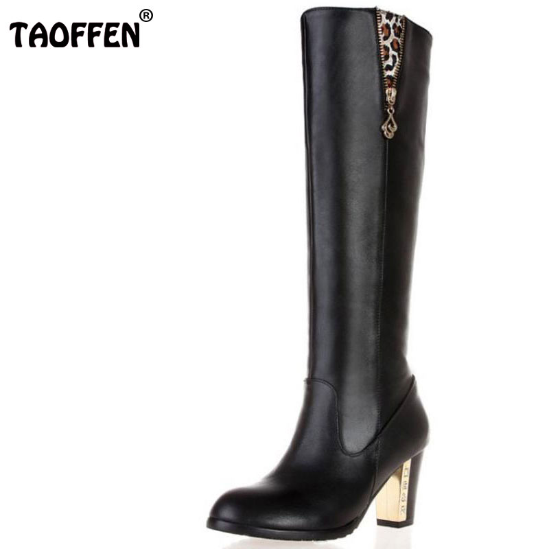 TAOFFEN Free shipping over knee natrual real genuine leather high heel boots women snow winter warm shoes R1536 EUR size 31-45 free shipping over knee natrual genuine leather high heel boots women snow winter warm boot shoes coolcept r1538 eur size 30 45