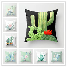 Cactus Green Leaves Cushion Cover Tropical Plants Pillow Cover Cushion Covers Pillow Case for Sofa Home Decorative Pillow Cover цены