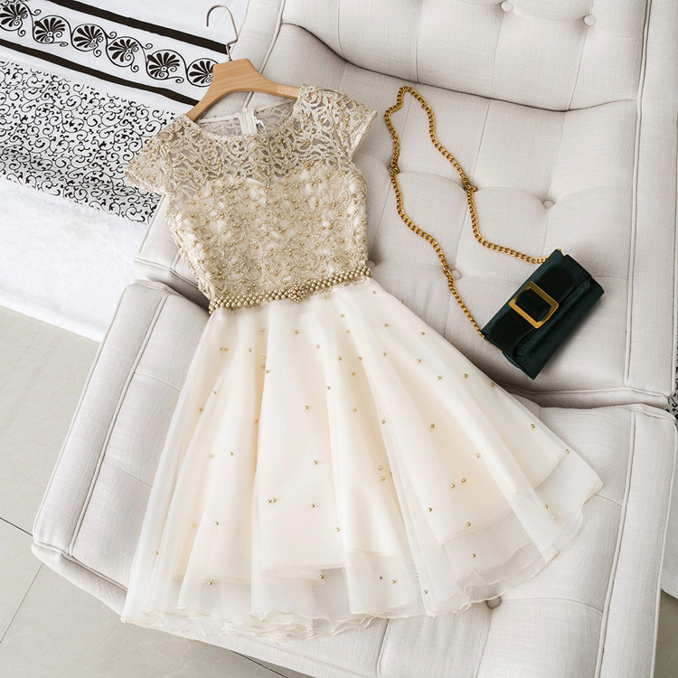 In Stock 2019 Luxury Design Women Summer Short Sleeves golden Bead Beautiful A line Dress Female Party Dresses Vestido A195