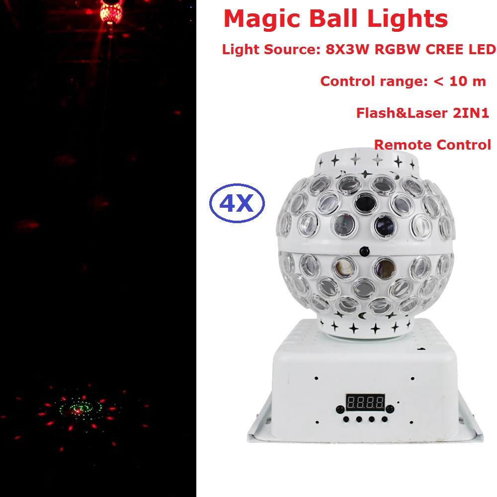4 Unit Carton Package RGBW 30W Crystal Magic Ball Laser Stage Lighting 90-240V For DJ Disco Nightclub Entertainments Projector alluminum alloy magic folding table bronze color magic tricks illusions stage mentalism necessity for magician accessories