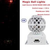 Pacote Da Caixa unidade 4 30 RGBW W 90-240V de Cristal Magic Ball Stage Iluminação Laser Para DJ Disco boate Entretenimento Projetor