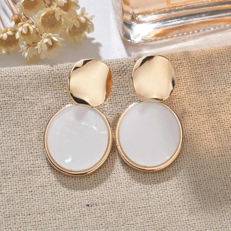 Exknl 2019 Resin Drop Earring for Women Korean Heart Party Boho Dangle Alloy Trendy Ethnic Summer Jewelry Round Earrings Fashion