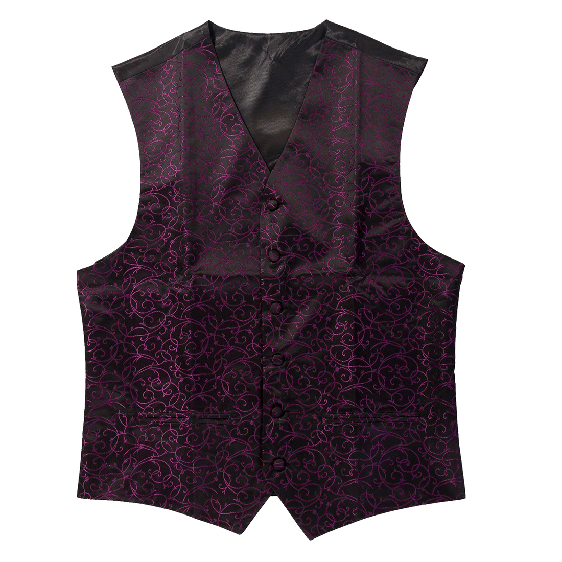 New Mens Top Swirl Wedding Waistcoat (Black/Purple 5XL/UK 50) ...