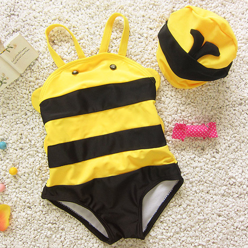 Toddler Kids Baby Boy and Girl Bee Tankini Bikini Sets Summer Style With Hat Triangle Bikini Swimwear Swimsuit Bathing Suit 2-5Y
