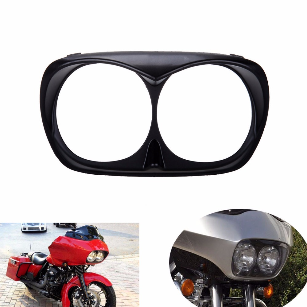 Motorcycle Gloss Black Bad Boy For Harley Road Glide Headlight Bezel scowl outer fairing 1998 - 2013 C/5 paradigm cinema trio gloss black